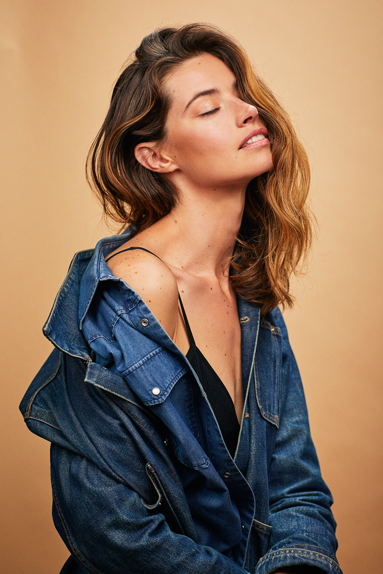 Portrait of woman with denim shirt