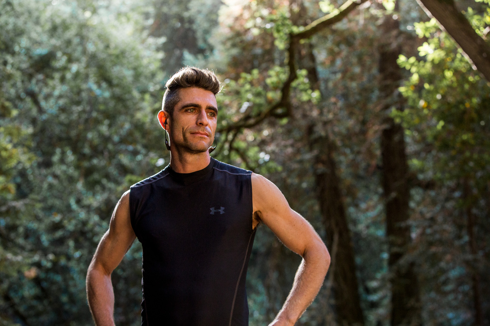 Portrait of athletic man on a trail run