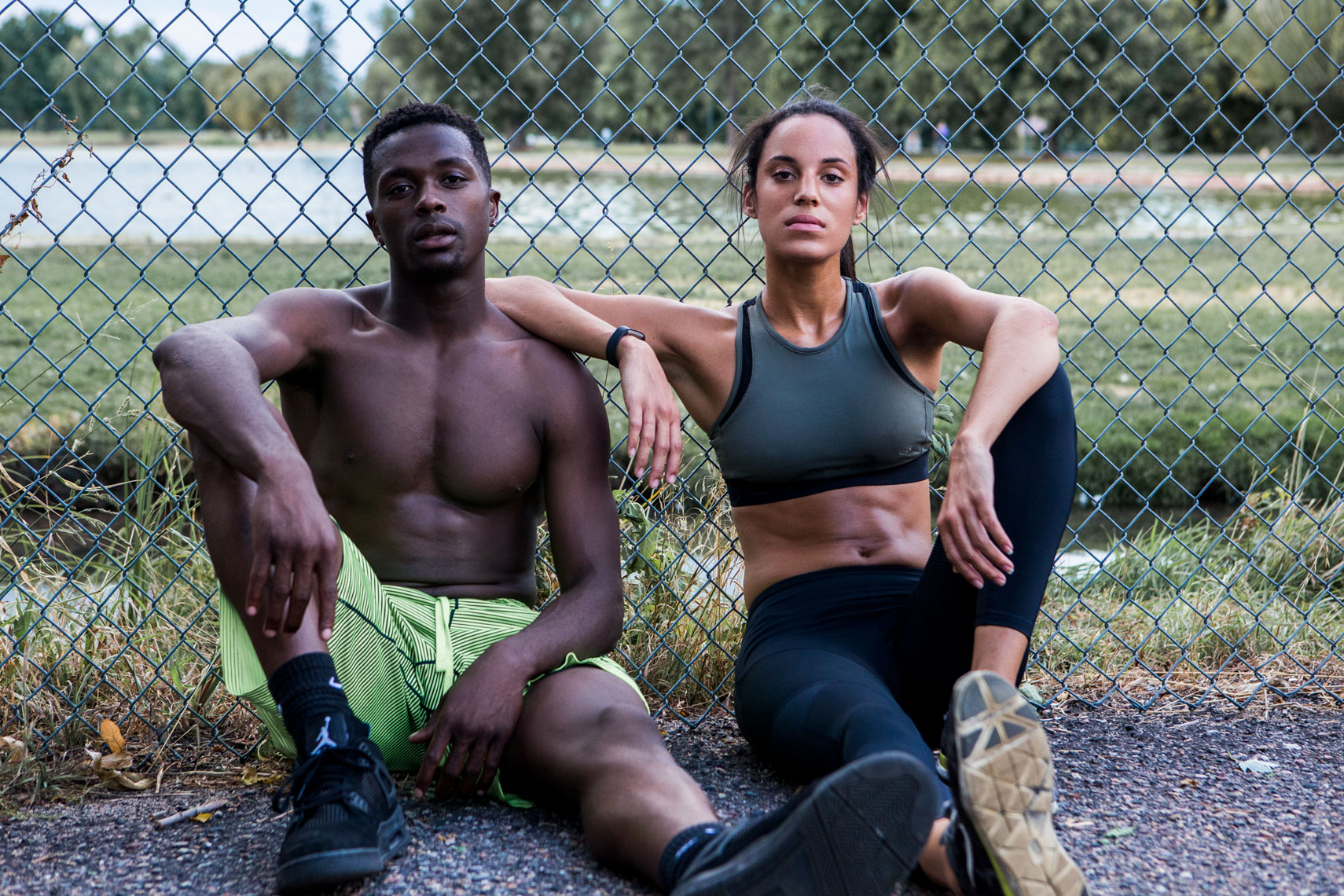 portrait of athletic man and woman