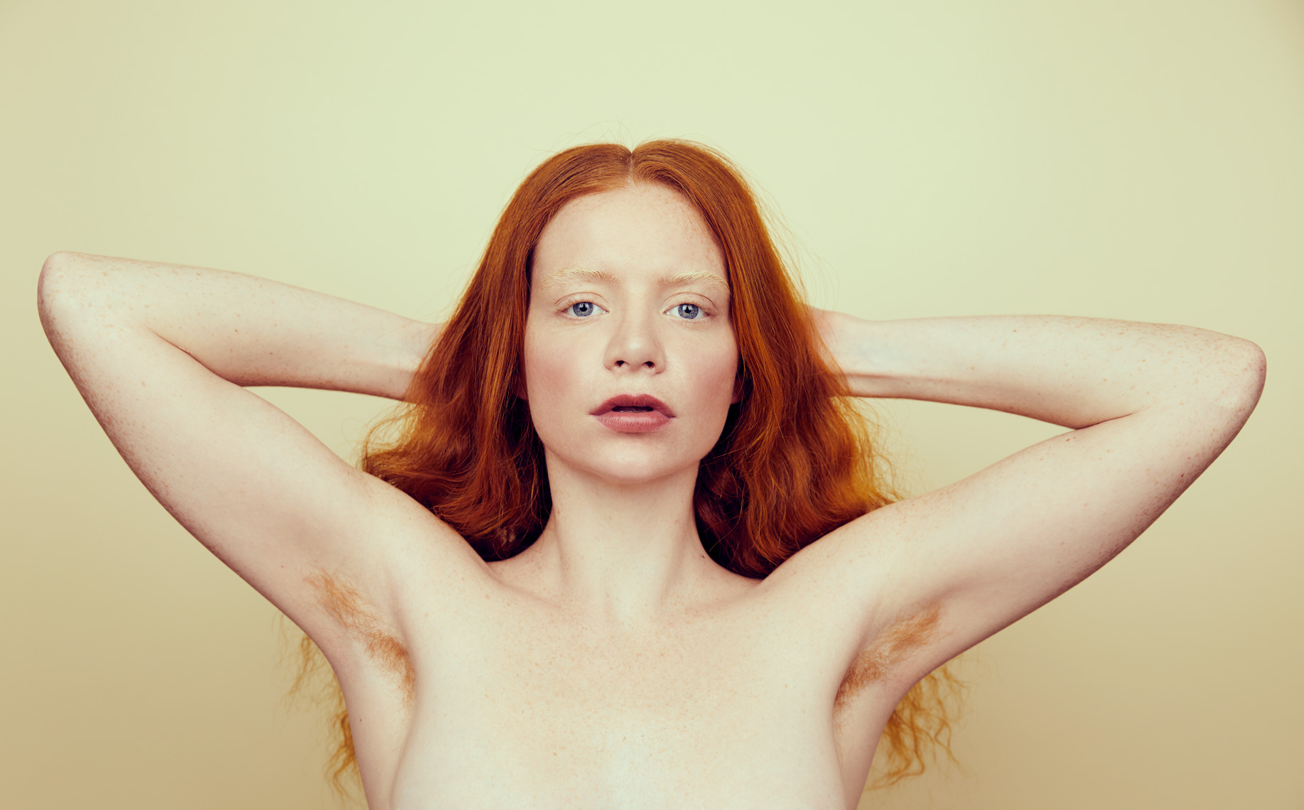 Portrait of Red Head Woman With Red Armpit Hair