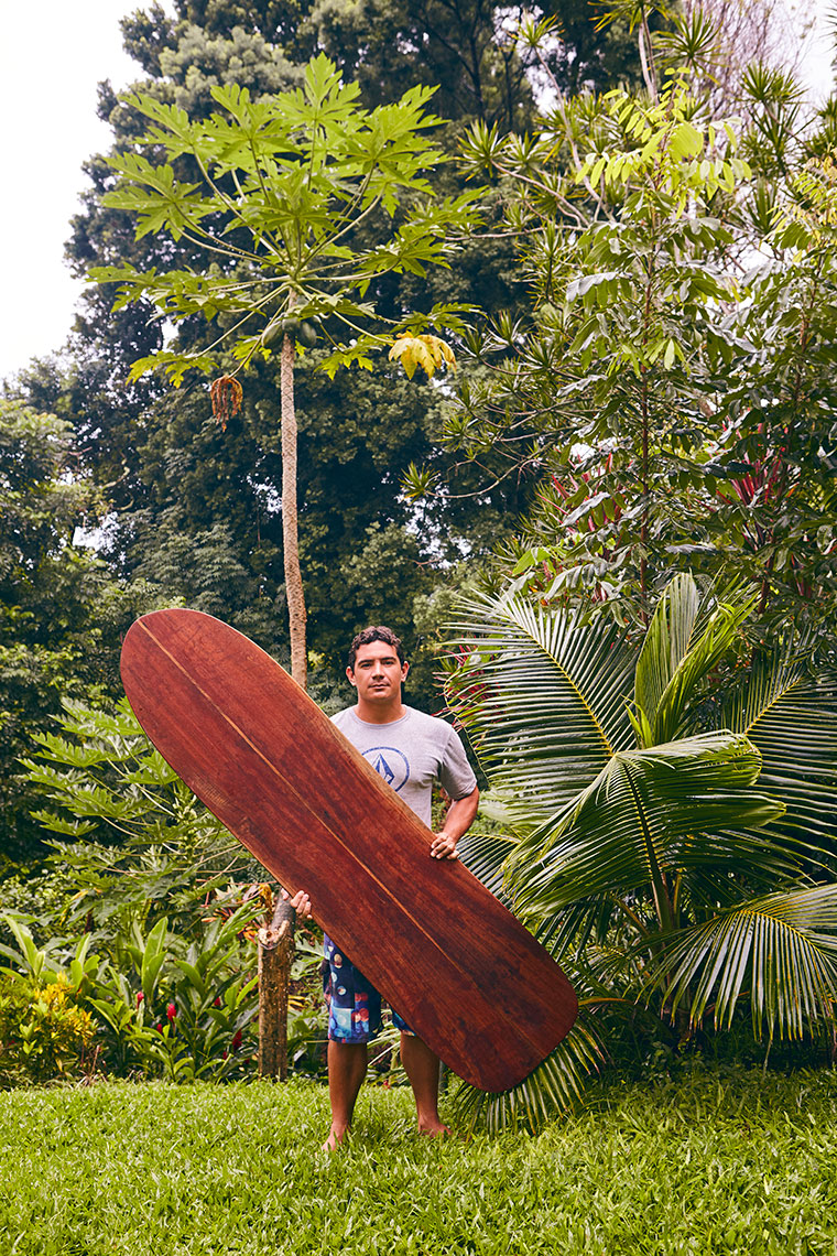 Portrait of Surfboard Shaper Brandon Ahuna in Hawaii with Alai