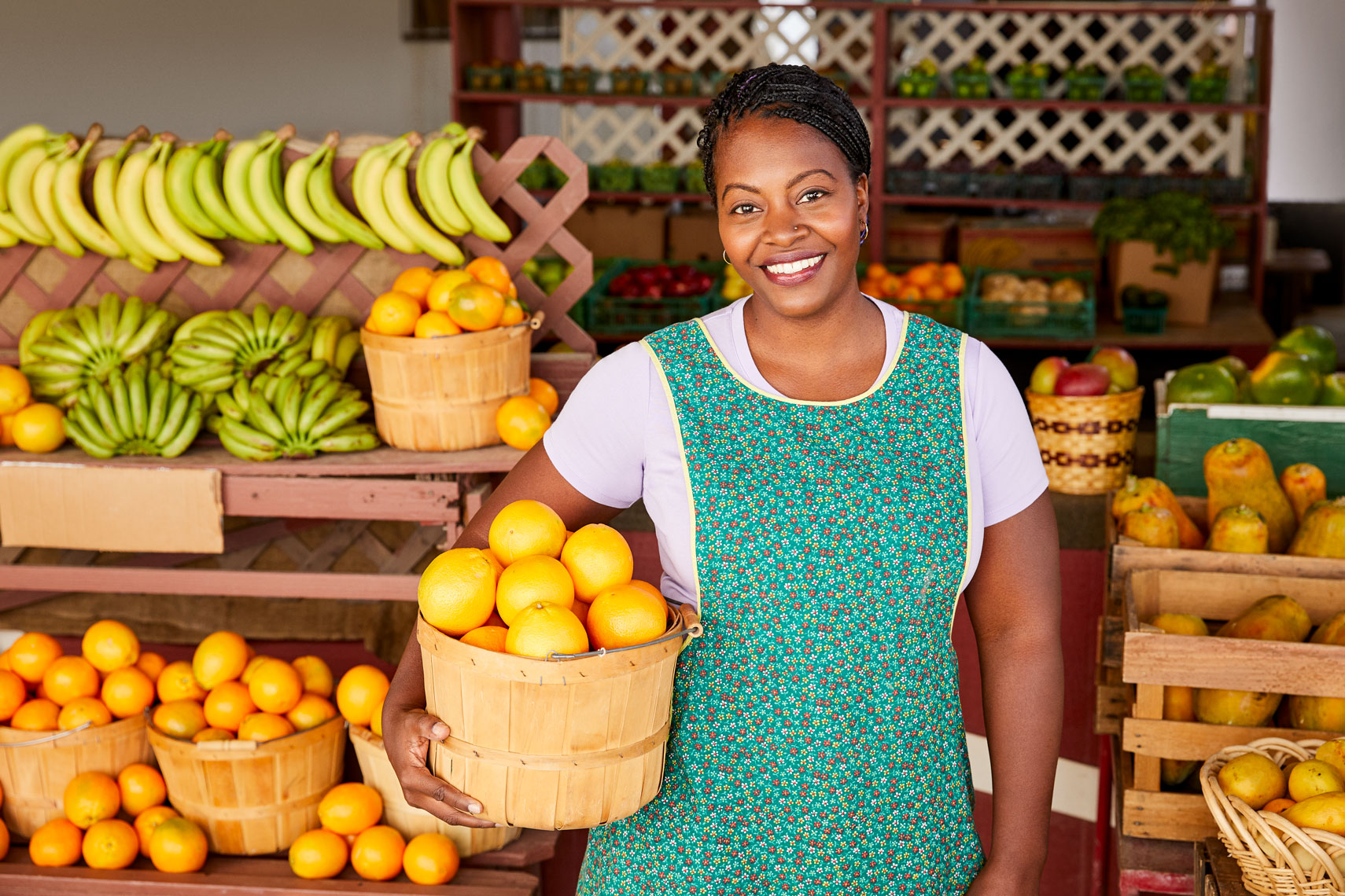 Portrait of market saleswoman for Tala Mobile ad campaign